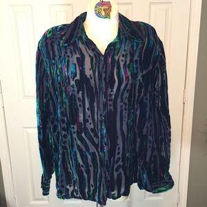 Bob Mackie Wearable Art Tunic 25% Silk/Rayon Sz:1X